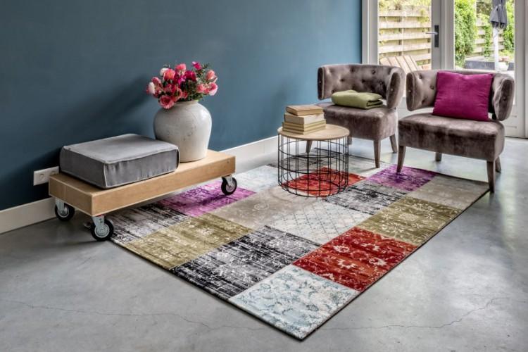 kelim vloerkleed vintage stoer patchwork multicolor woonkamer