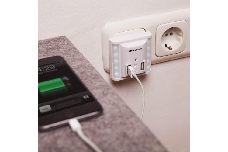 USB wandlader met nachtlampje