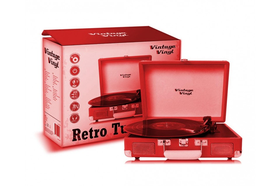 Vintage Vinyl Retro platenspelers-Rood