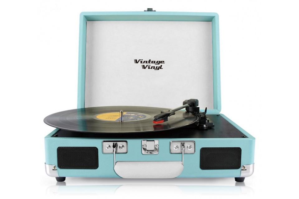 Vintage vinyl retro platenspeler blauw