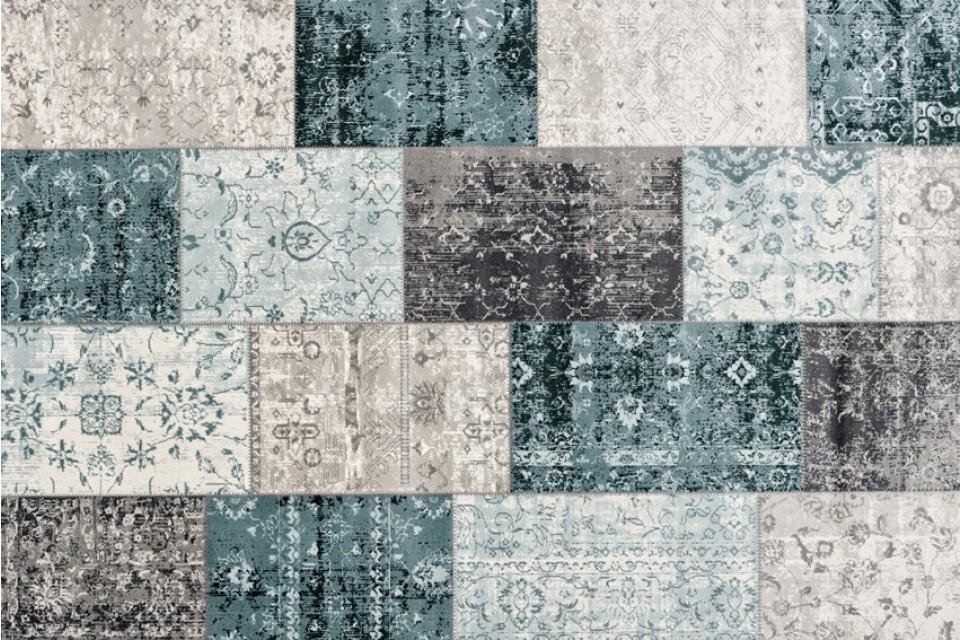 Kelim Cool Vintage Patchwork Dark Grey Blue 1