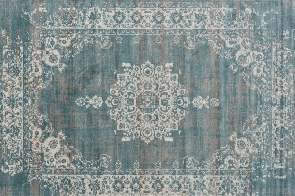 Kelim Cool Vintage Medaillon Grey Blue