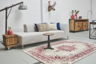 Kelim vintage vloerkleed medaillon rood